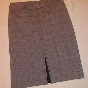 Samantha Stretch Skirts - Samantha Stretch Front Slit Plaid Pencil Skirt